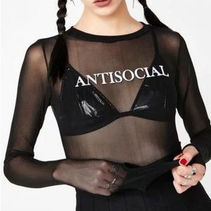 *ISO* Dolls Kill Widow sheer Antisocial top size L